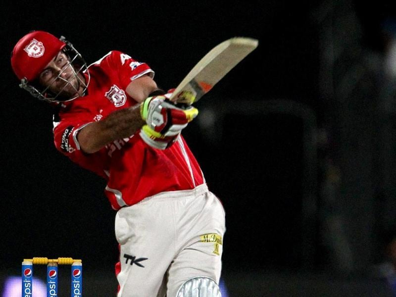Glenn Maxwell of Kings X1 Punjab plays a shot during their IPL 7 match against Rajasthan Royals in Sharjah. (PTI Photo)