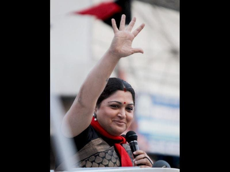 Actress and DMK leader Kushboo at an election campaign rally for Chennai North Lok Sabha constituency candidate Dayanidhimaran (PTI Photo)