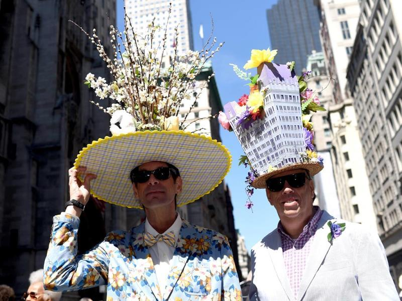 Participants display their outfits during the annual Easter Parade. (AFP)