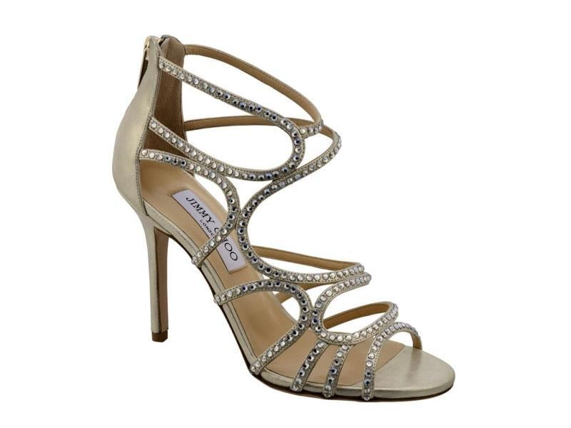 Jimmy Choo - Sazerac sandal in champagne metallic leather with crystal detail - €1,050. (AFP)