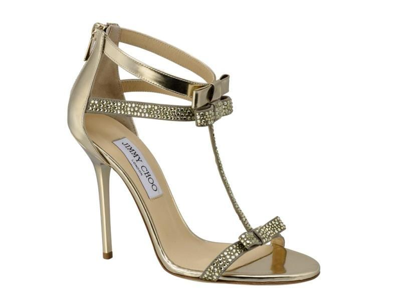 Jimmy Choo - Escape champagne suede and leather sandals with crystal detail - €695. (AFP)