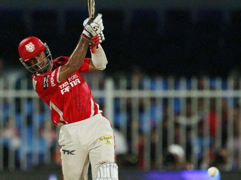 Cheteshwar Pujara of Kings XI Punjab plays a shot during their IPL 7 match against Sunrisers Hyderabad in Sharjah. (PTI Photo)