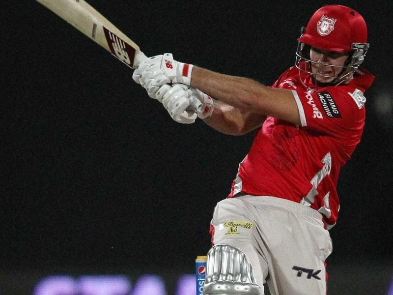 David Miller of Kings XI Punjab plays a shot during their IPL 7 match against Sunrisers Hyderabad in Sharjah. (PTI Photo)