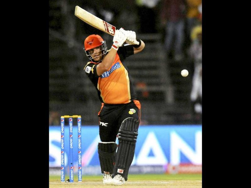 Aaron Finch of Sunrisers Hyderabad bats during their IPL 7 match against Kings XI Punjab in Sharjah. (PTI Photo)