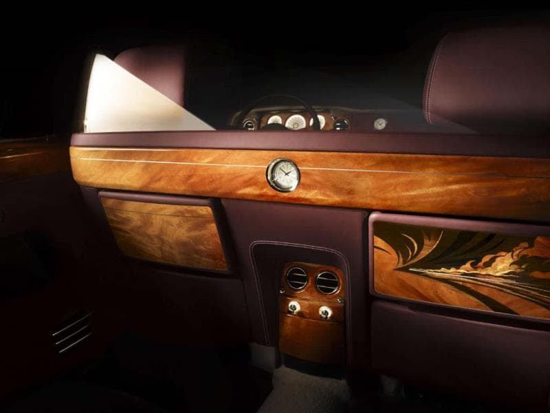 The vehicle showcases the firm's marquetry skills. Photo:AFP
