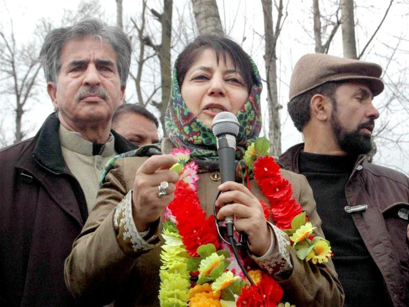 Mehbooba Mufti, the President of the Peoples Democratic Party, address an election rally in Jammu and Kashmir. She is contesting the polls from Anantnag. PTI Photo