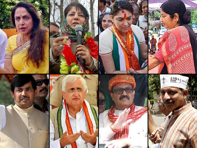 A combination picture of politicians who are in fray in sixth phase of Lok Sabha polls on Aril 24, 2014. Agency photos