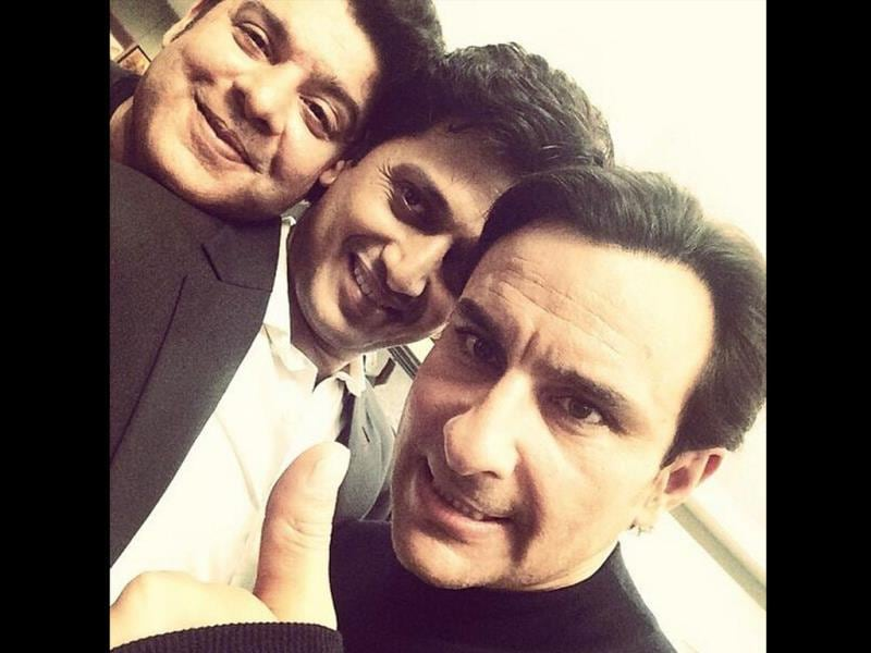 Saif Ali Khan with Humshakals team Riteish and Sajid Khan.