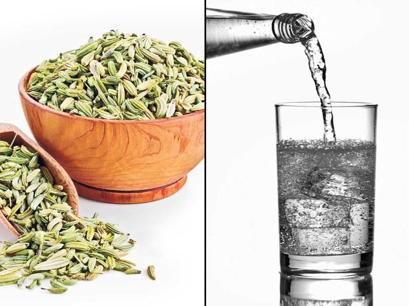 Fennelseeds: fennel seeds are natural skin cleansers. They improve digestion, reduce inflammation and help to flush out excess fluids and toxins in your skin. | Water: increasing your water intake is the best way to flush out internal toxins and hydrate your skin. This neutralises the body and gets rid of waste materials ­produced during ­metabolism. One should have at least 7-8 glasses of water per day. (HT PHOTO)