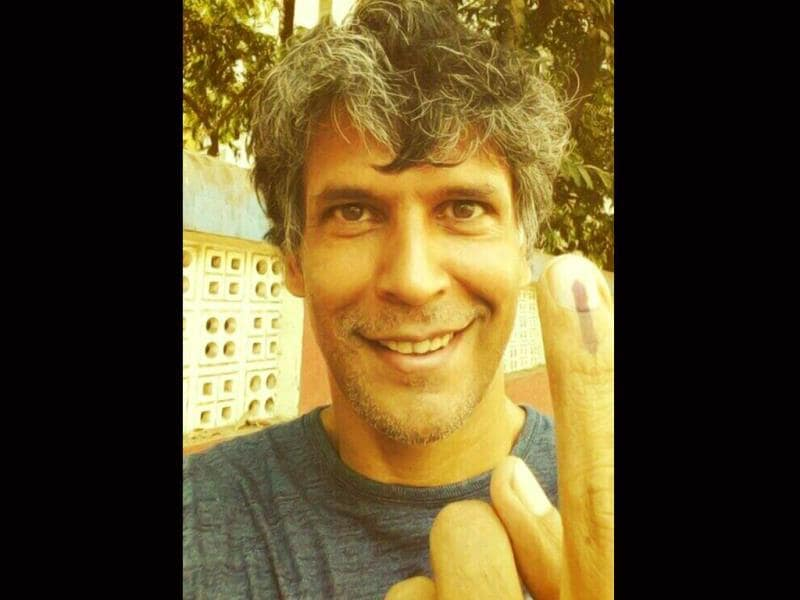 Actor Milind Soman is ecstatic after casting his vote.