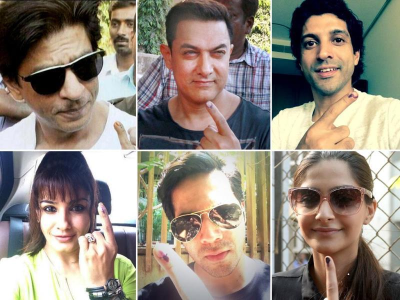 Bollywood celebs flaunt their inked fingers after casting their votes in Mumbai. Check out the pics.