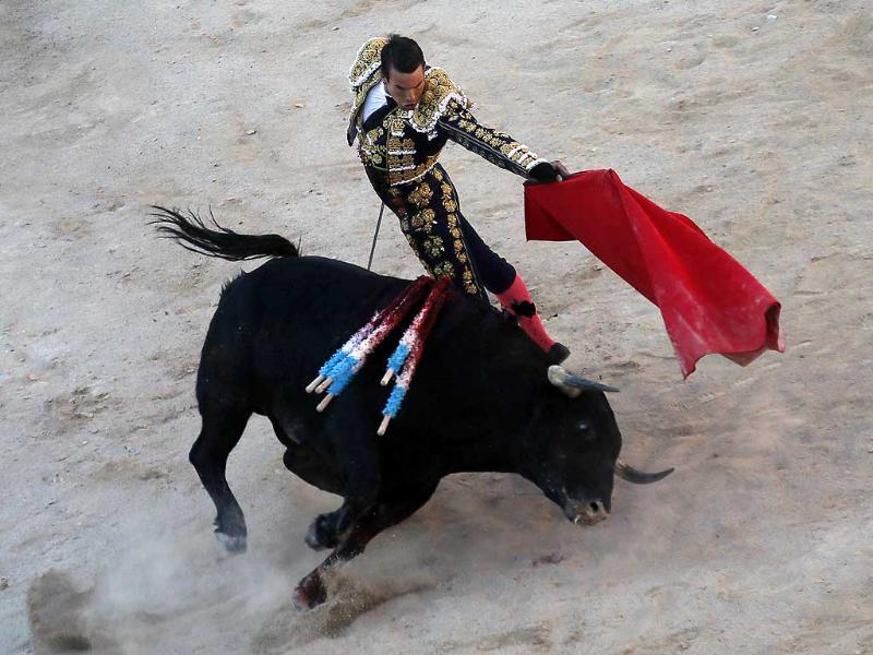 Spanish bullfighter Jose Maria Manzanares performs a pass to a bull in the arena during the traditional Easter Feria in Arles, Southern France (Reuters Photo)