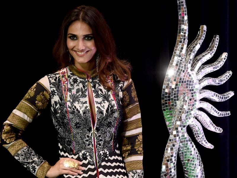 Bollywood actor Vaani Kapoor poses on the green carpet at the Tampa Convention Center ahead of IIFA Rocks. (AFP)