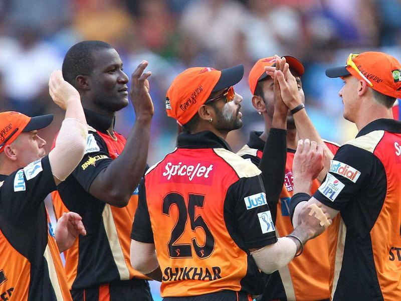 Darren Sammy of the Sunrisers Hyderabad celebrates the wicket of Murali Vijay of the Delhi Daredevils during the IPL Season 7 between the Sunrisers Hyderabad and Delhi Daredevils in Dubai (PTI Photo)