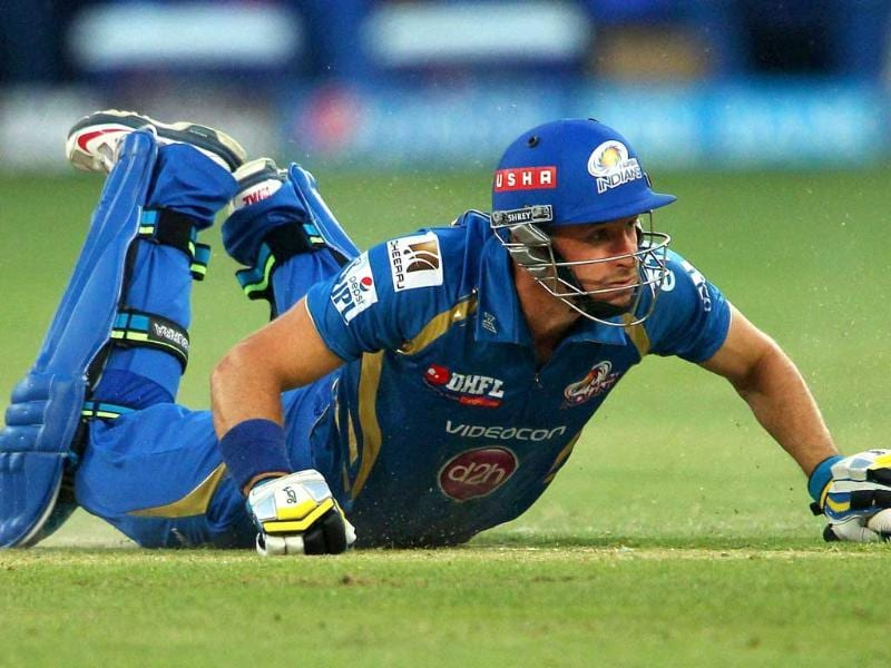 Mumbai Indians' Michael Hussey during an IPL 7 match against Chennai Superkings in Dubai. (PTI photo)