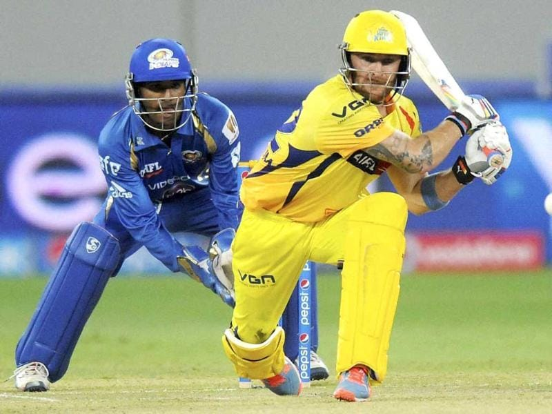 Chennai Super Kings' Brendon McCullum plays a shot during an IPL 7 match against Mumbai Indians in Dubai. (PTI photo)