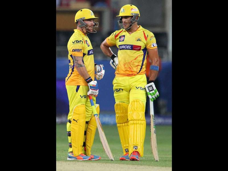 Chennai Super Kings' Faf du Plessis and Brendon McCullum during an IPL 7 match against Mumbai Indians in Dubai. (PTI photo)