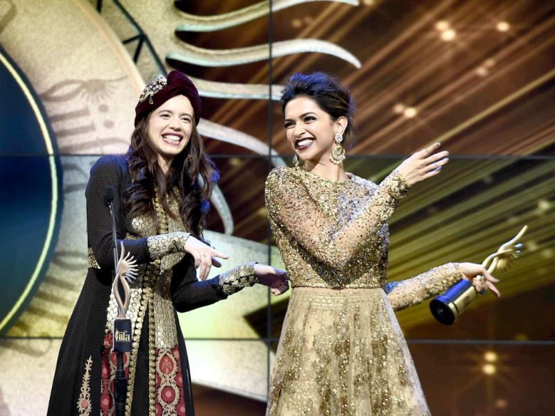 Kalki Koechlin and Deepika Padukone on stage during the IIFA Magic of the Movies show on the third day of the 15th International Indian Film Academy (IIFA) Awards in Tampa, Florida. (AFP)