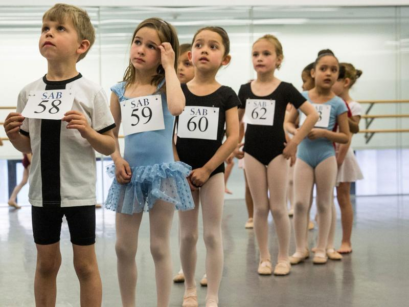 Six-year-old children wait to audition for the School of American Ballet (AFP Photos)