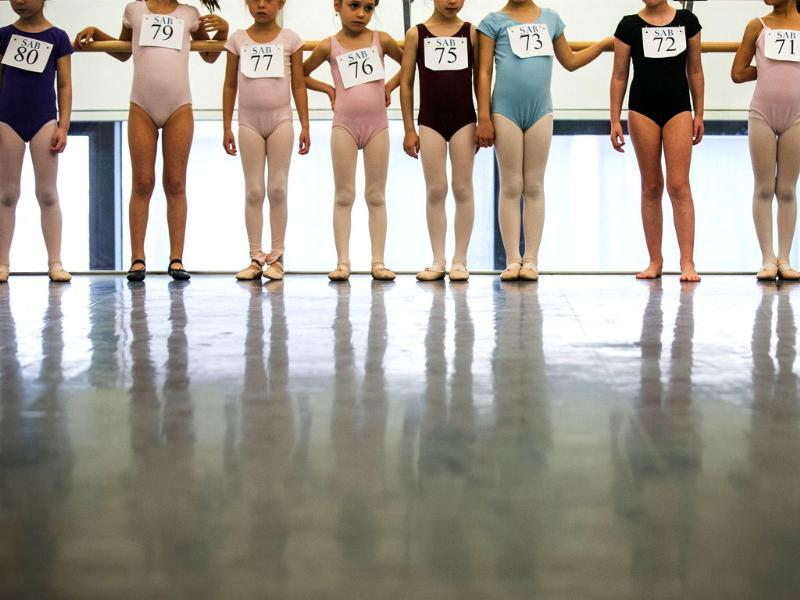 Little ballerinas line up for their audition in the School of American Ballet. (AFP Photos)