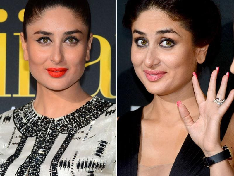 Bollywood star Kareena Kapoor at an IIFA event (left); she gestures to fans on the green carpet at the Raymond James Stadium. (AFP)
