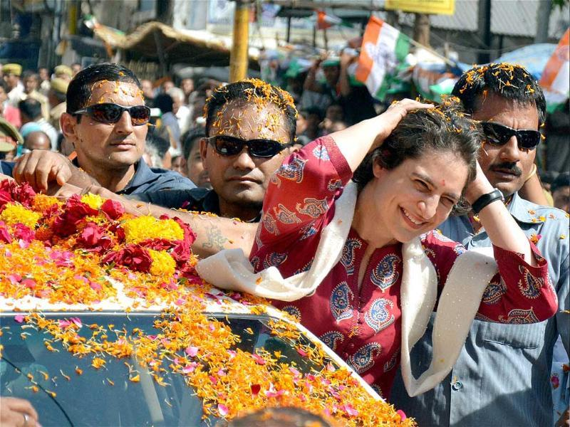Priyanka Vadra during an election campaign for her mother and Congress president Sonia Gandhi in Rae Bareli. (PTI Photo)