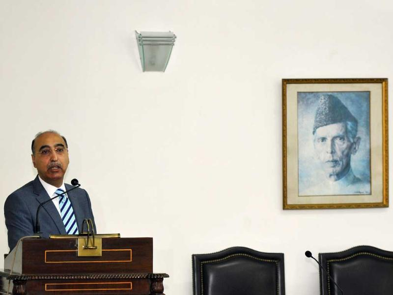 Pakistan High Commissioner to India Abdul Basit speaks during a visit of Delhi School Students at the Pakistan Commission for