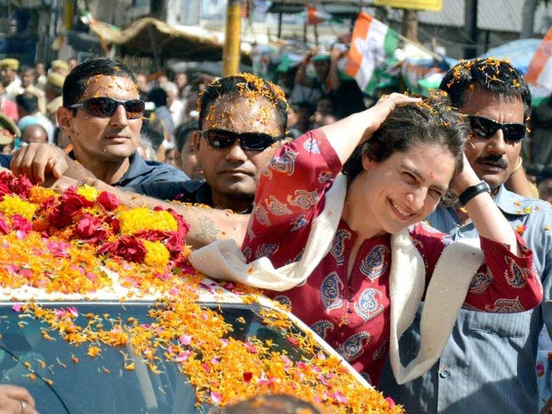 Priyanka Vadra during an election campaign for her mother and Congress President Sonia Gandhi in Raebareli on Monday. (PTI Photo)