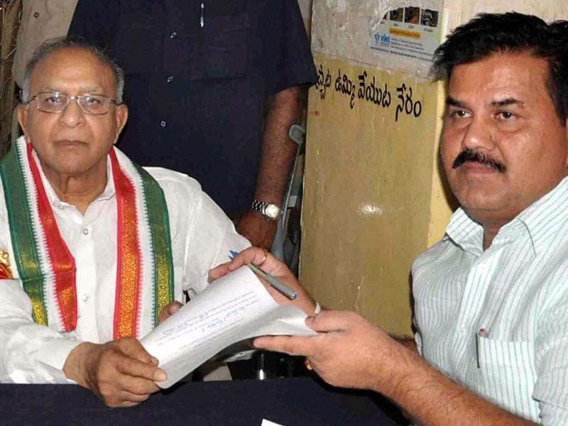 Congress candidate S Jaipal Reddy files his nomination in Hyderabad. (PTI photo)