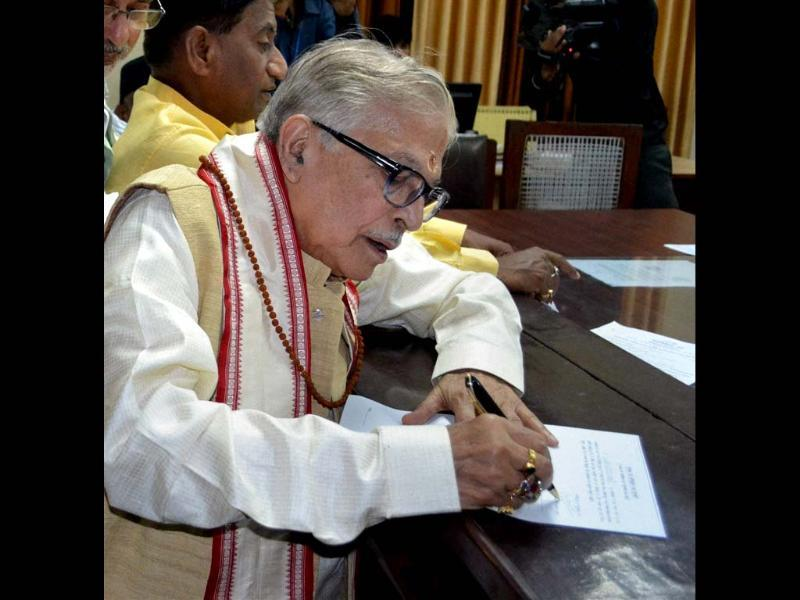 BJP leader Murli Manohar Joshi files his nomination papers in Kanpur. (PTI photo)