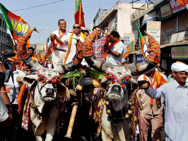 BJP candidate from Ahmedabad East Paresh Rawal is seen during an election rally