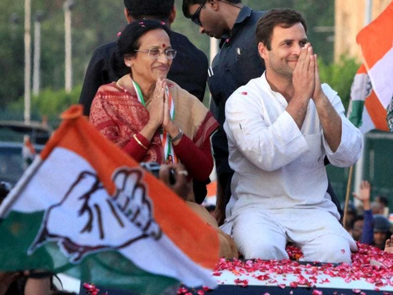 Congress vice-president Rahul Gandhi during a road show for party candidate Rita Bahuguna Joshi in Lucknow. (PTI photo)