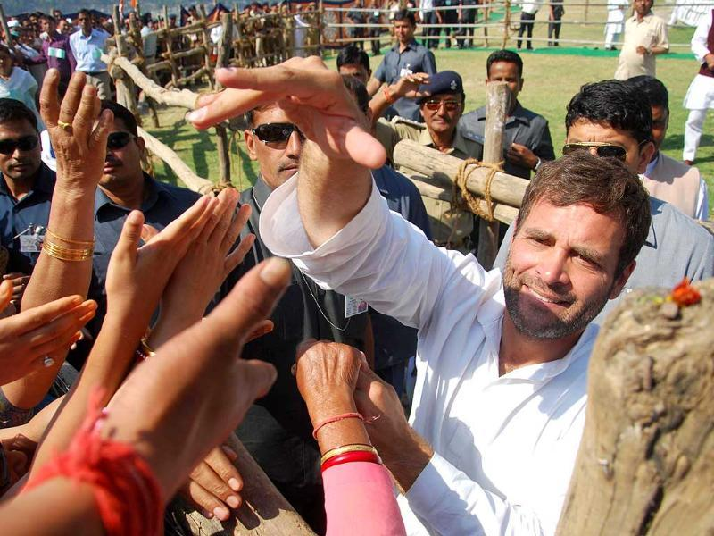 Congress vice president Rahul Gandhi meets people during a rally in Almora. (Vinay Santosh Kumar/HT Photo)