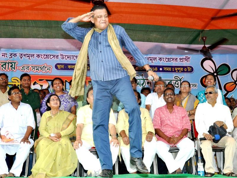 Mithun Chakraborty dances during an election campaign rally for Sandhya Roy in West Midnapore district of West Bengal. (PTI Photo)