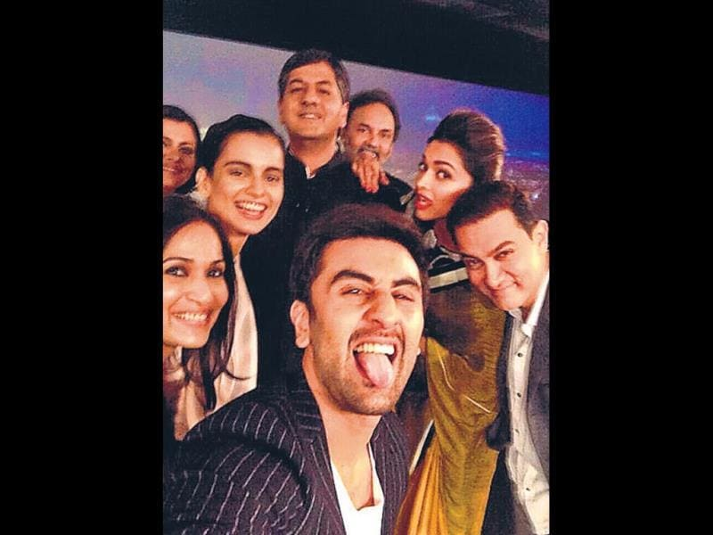 After the much talked-about IIFA-selfie recently, Bollywood had another big selfie moment at a Delhi event on Tuesday evening. Seen in the picture were actors Deepika Padukone, Aamir Khan and Ranbir Kapoor, among others. Ranbir and Deepika also shook a leg to one of their popular songs.