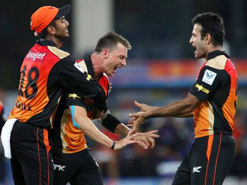 Dale Steyn of Sunrisers Hyderabad celebrates the wicket of Corey Anderson of Mumbai Indians during their IPL 7 match in Dubai. (PTI Photo)
