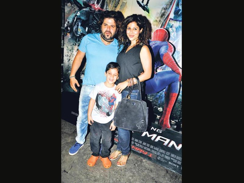 Bakhtiyaar and Tanaaz Irani with son Zeus at a film screening. (HT PHOTO)