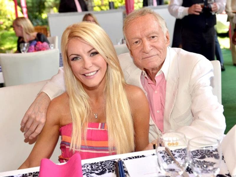 Hugh Hefner and Crystal Harris have an age gap of 60 years. Harris was 27 and Hefner 87 when they tied the knot. (AFP)