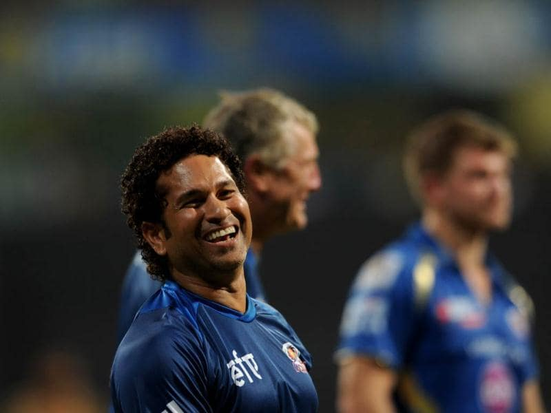 Mumbai Indians mentor Sachin Tendulkar and team players celebrate after winning the match during the T20 match between Mumbai Indians and King XI Punjab at Wankhede Stadium (Satish Bate/HT Photo)