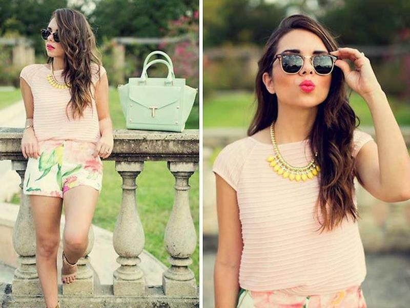 It's all about the statement neck wear this week for the Lookbook style-setters: colorful stone-focused necklaces rule but there's also a bow-tie, intricate neckline detailing on a top and a tattoo in the mix!Spring in Florals and Pastels: by Daniela R., 25 year old blogger at nanysklozet.com from Venezuela but living in Miami, United States. (AFP)