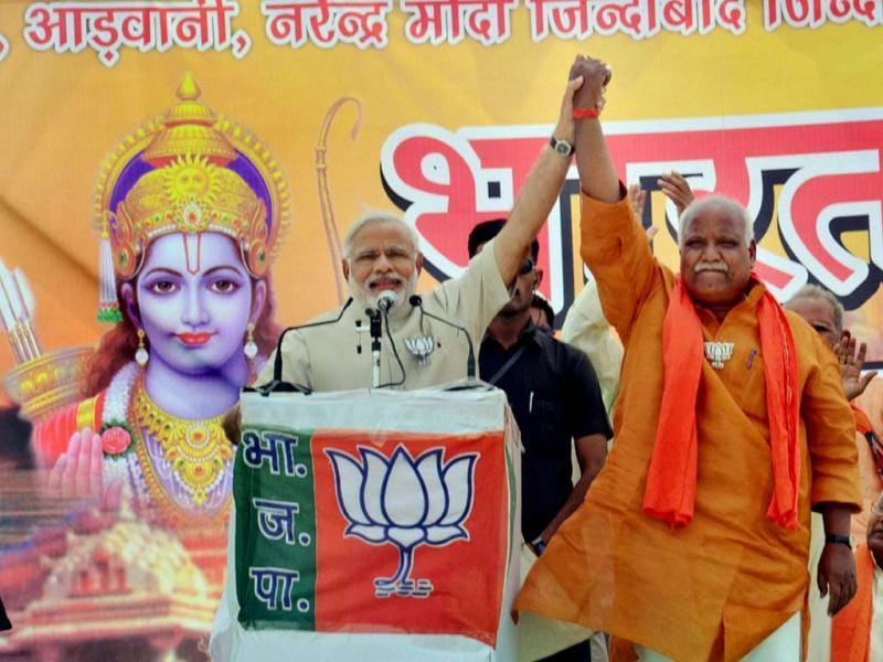 Modi invoked Lord Ram while addressing a meeting in Faizabad, barely six kilometres from Ayodhya. He shared the stage with the Faizabad candidate Lalu Singh who was issued a notice by the EC for displaying religious portraits. (PTI Photo)