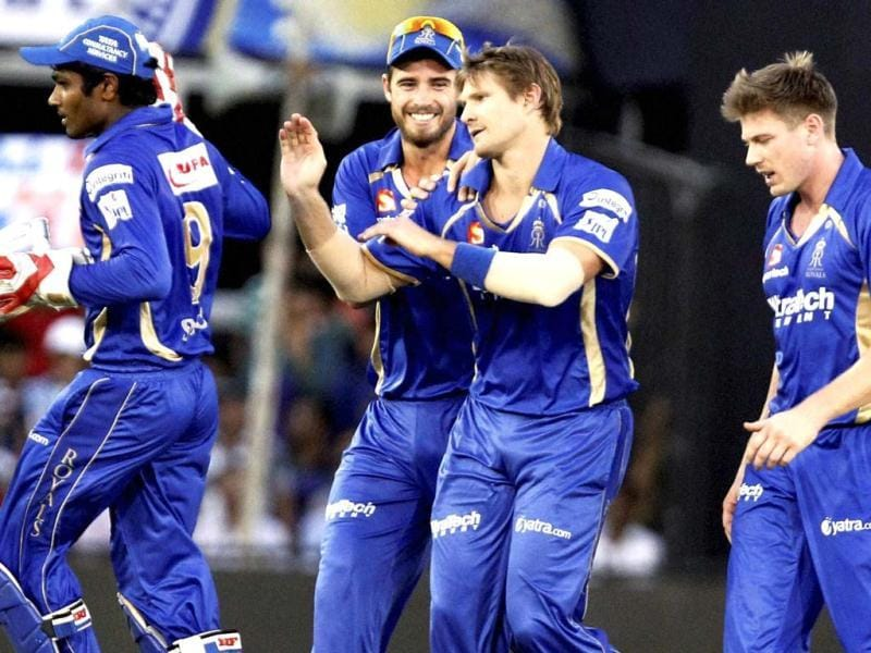 Rajasthan Royals players celebrate the wicket of Robin Uthappa of Kolkata Knight Riders during their IPL match at Motera Stadium in Ahmedabad. (PTI Photo)
