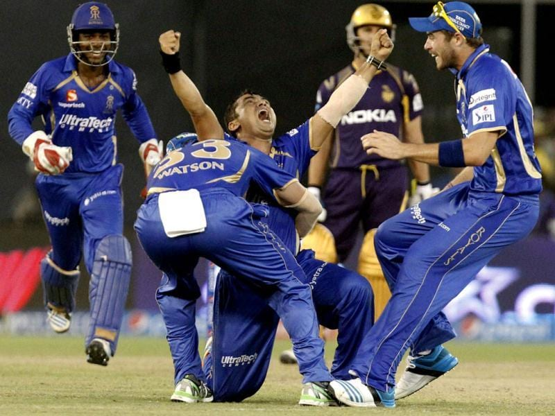 Rajasthan Royals' Pravin Tambe celebrates with teammates after claiming a hat-trick against Kolkata Knight Riders in their IPL match Motera Stadium in Ahmedabad. (PTI Photo)