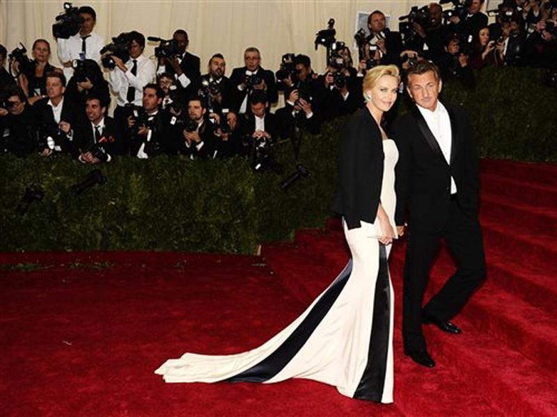 Charlize Theron and Sean Penn attend The Metropolitan Museum of Art's Costume Institute benefit gala celebrating Charles James: Beyond Fashion in New York. (AP)