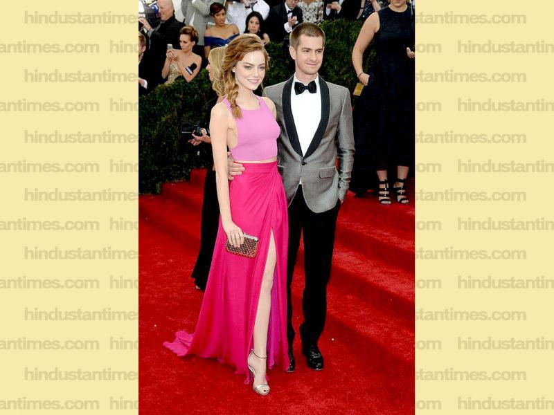 Emma Stone and Andrew Garfield attend The Metropolitan Museum of Art's Costume Institute benefit gala celebrating Charles James: Beyond Fashion in New York. (AP)