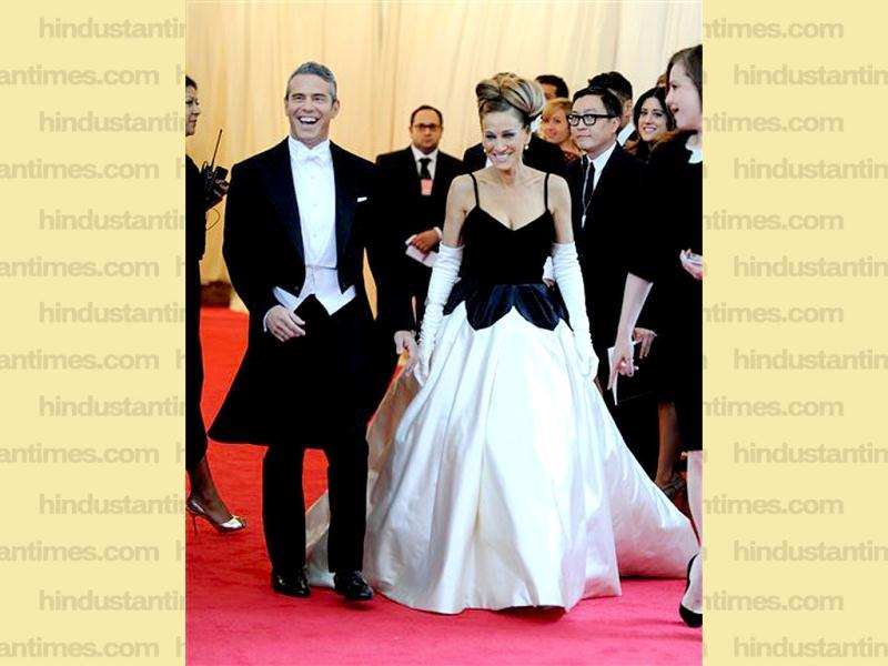 Andy Cohen, left, and Sarah Jessica Parker arrive at The Metropolitan Museum of Art's Costume Institute benefit gala celebrating Charles James: Beyond Fashion in New York. (AP)