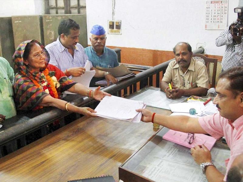 BSP's Keshri Devi Patel files her nomination papers for Lok Sabha polls in Allahabad. (PTI Photo)