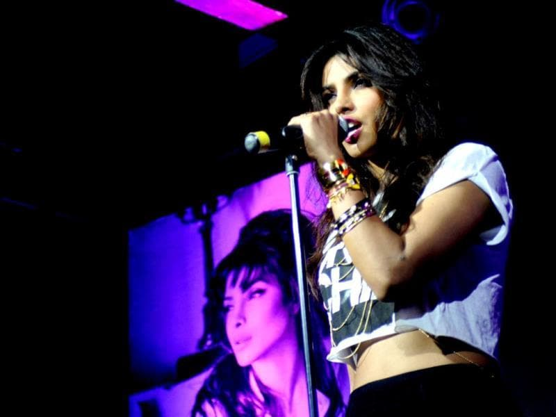 Actor-singer Priyanka Chopra performs on her I Can't Make You Love Me during the event. (AFP)