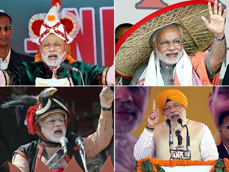 After being nominated as BJP's prime ministerial candidate, Narendra Modi addressed over 400 rallies. He wore headgears of the native places he visited in an attempt to mix with people.