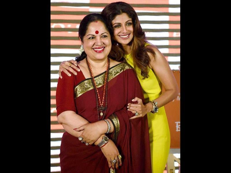 Shilpa Shetty with her mother Sunanda Shetty during an event to celebrate Mother's Day in Mumbai. (PTI photo)